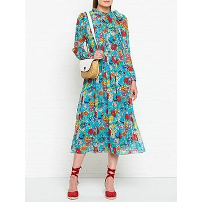 L.K. Bennett Gish Silk Floral Print Long Sleeve Dress - Teal