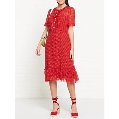 L.K. Bennett Malami Silk Polka Dot Pearl Button Midi Dress - Red
