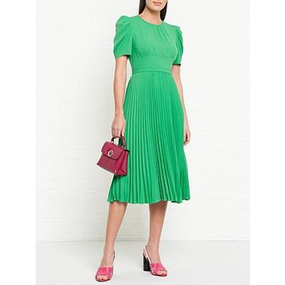 L.K. Bennett Avalon Pleated Short Sleeve Midi Dress - Green