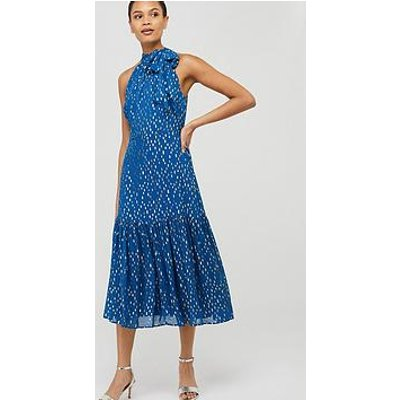 Monsoon Leilani Sustainable Tiered Midi Dress - Blue