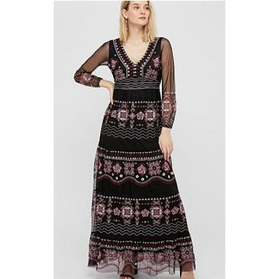 Monsoon Atelier Heather Embroidered Long Sleeve Dress - Black