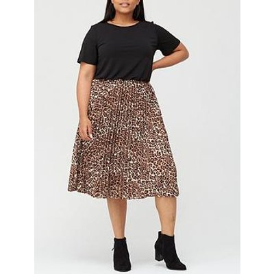 V By Very Curve Pleated Skirt Midi Dress - Black/Animal