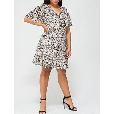 V By Very Curve Lace Insert Tea Dress - Animal Heart Print