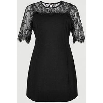 V By Very Curve Lace Yoke Dress - Black