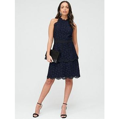 Whistles Halter Neck Talie Lace Dress - Black