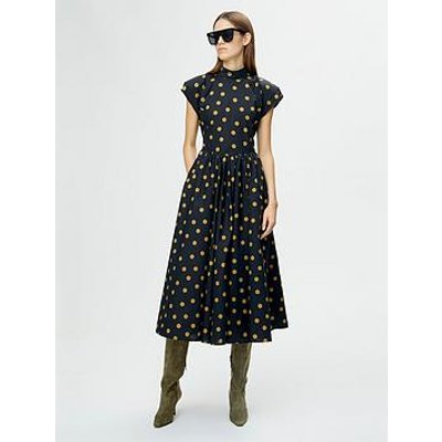 Gestuz Cassia Polka Dot Open Back Midi Dress - Black