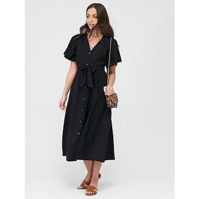 Whistles Anita Frill Sleeve Dress - Black