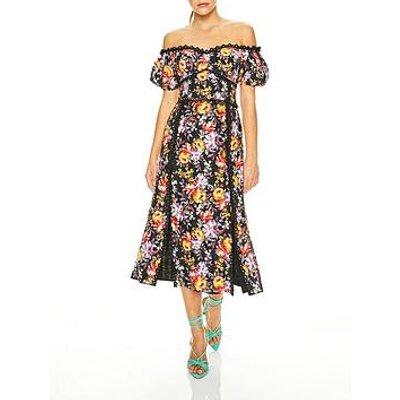 Talulah Mimosa Floral Print Off Shoulder Midi Dress - Black