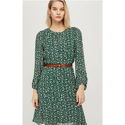 Monsoon Marty Print Sustainable Viscose Dress - Green