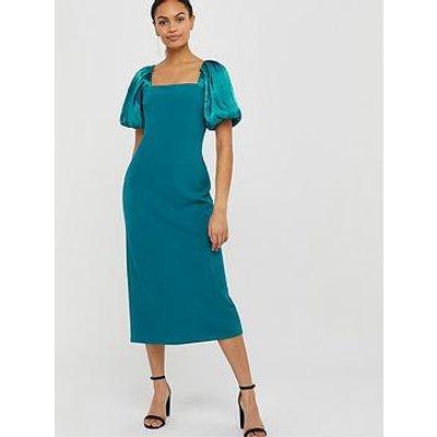 Monsoon Eliza Organza Puff Sleeve Column Dress - Teal