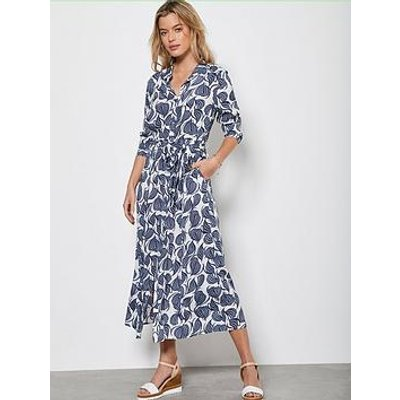 Mint Velvet Olivia Print Shirt Midi Dress - Multi