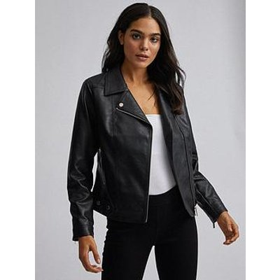 Dorothy Perkins Pu Biker Jacket - Black
