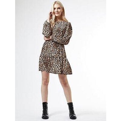 Dorothy Perkins Puff Sleeve Fit And Flare Dress - Animal Print