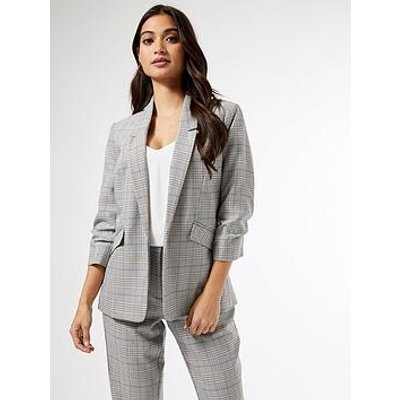 Dorothy Perkins Petite Prince Of Wales Check Ruched Sleeve Jacket - Grey