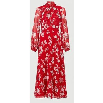 V By Very Pleated Skirt Midi Dress - Red Floral