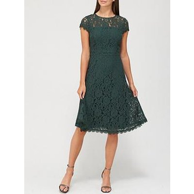 V By Very Full Skirt Lace Midi Dress - Deep Green