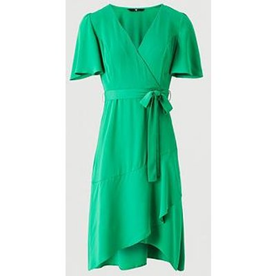 V By Very Serena Ruffle Wrap Midi Dress - Green