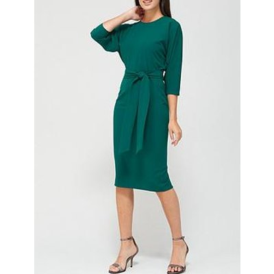 V By Very Rosa Kimono Sleeve Fitted Dress - Deep Green
