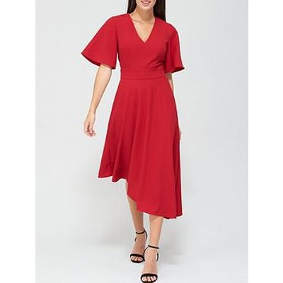 V By Very Macey Belted Angel Sleeve Prom Dress - Deep Red