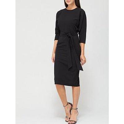 V By Very Rosa Kimono Sleeve Fitted Dress - Black