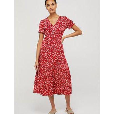 Monsoon Natty Ditsy Print Midi Dress - Red
