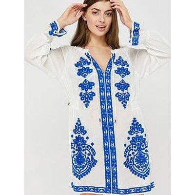 Monsoon Lola Embroidered Organic Cotton Kaftan - White