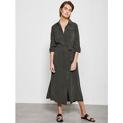 Mint Velvet Utility Midi Shirt Dress - Khaki