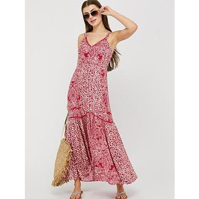 Monsoon Sunita Print Ecovero Maxi Dress - Pink