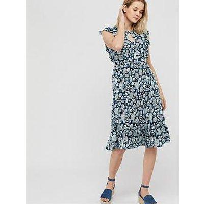 Monsoon Loana Printed Midi Dress - Blue