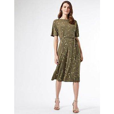 Dorothy Perkins Foil Batwing Midi Dress - Khaki