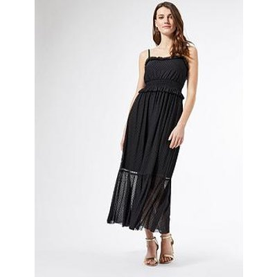 Dorothy Perkins Mesh Flocked Strappy Midi Dress - Black