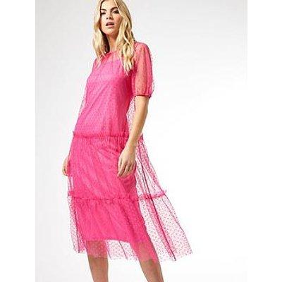 Dorothy Perkins Mesh Spot Tiered Midi Dress - Pink