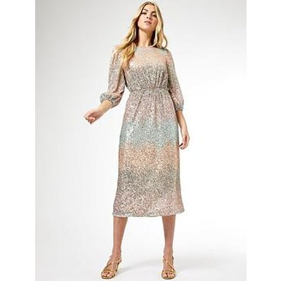 Dorothy Perkins Ombre Sequin Midi Dress - Blush