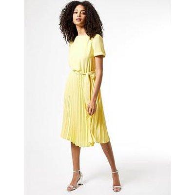 Dorothy Perkins Turn Black Pleat Midi Dress - Yellow