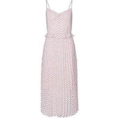 Dorothy Perkins Spot Dobby Strappy Pleated Midi Dress - Cream