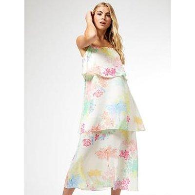 Dorothy Perkins Tropical Triple Tier Dress - Cream