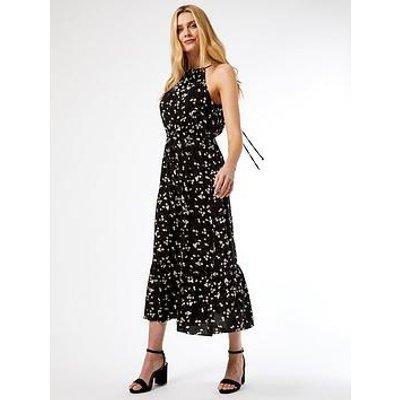 Dorothy Perkins Daisy Halter Neck Smock Midaxi Dress - Black