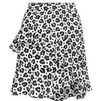 Fabienne Chapot Lulu Leopard Print Ruffle Skirt - White/Black