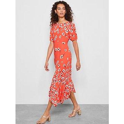 Mint Velvet Juliet Puff Sleeve Midi Dress - Red