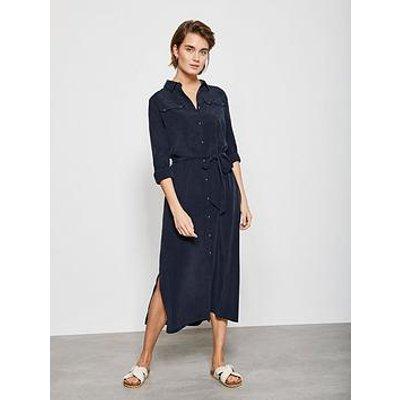 Mint Velvet Pocket Detail Midi Shirt Dress - Blue
