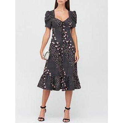 For Love & Lemons Camellia Floral And Polka Dot Midi Dress - Black