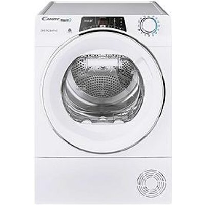Candy Rapido Roh9A2Tce, 9Kg Load, Heat Pump Tumble Dryer - White / Chrome