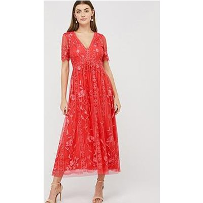 Monsoon Valentina Embroidered Midi Dress - Coral