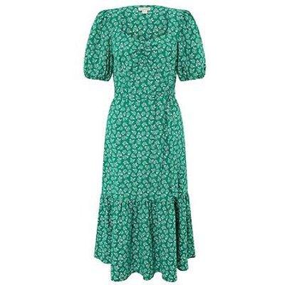 Monsoon Roxie Rose Print Organic Cotton Dress - Green