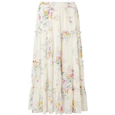 Monsoon Blossom Print Tiered Midi Skirt - Ivory