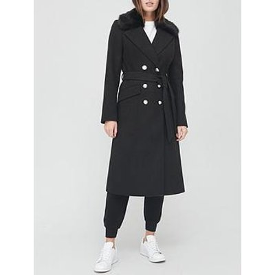 V By Very Long Military Coat With Faux Fur Collar - Black