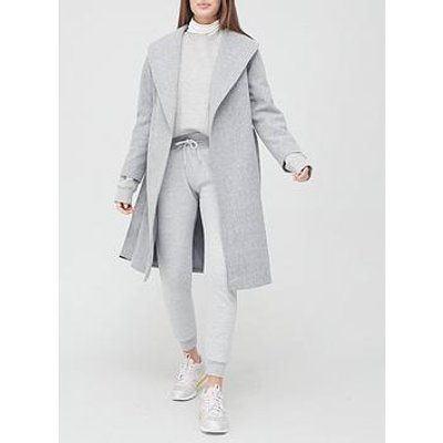 V By Very Belted Wrap Coat - Grey
