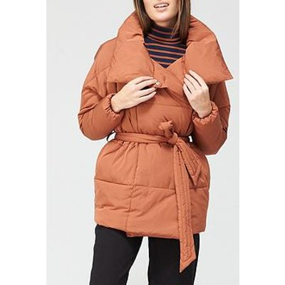 V By Very Short Wrap Padded Jacket - Spice