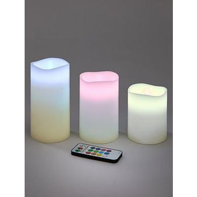 Remote Controlled Colour Changing Led Candles (Set Of 3)