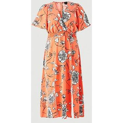 Ax Paris Curve Floral Printed Wrap Maxi Dress - Orange